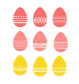 set of easter eggs with various patterns vector image vector image