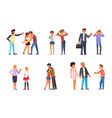 set of teens and parents vector image