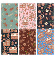 set seamless patterns with gingerbread cookies vector image
