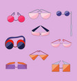 set with different type of flat outlined glasses vector image