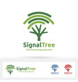 signal tree logo wi-fi and tree symbol suitable vector image vector image