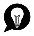 silhouette dialog with light bulb inside vector image