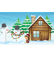 snowman girl and house vector image vector image