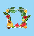 square frame with flowers and tropical fruits vector image