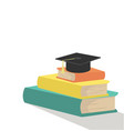 stack of books with graduation cap vector image vector image