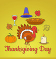 thanksgiving day concept with holiday symbols vector image vector image