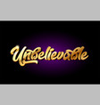 unbelievable 3d gold golden text metal logo icon vector image vector image