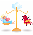 Angel and demon on the balance vector image