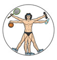 athlete vitruvian man sketch engraving vector image vector image