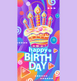 banner with birthday cake and candles vector image