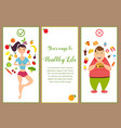 banners with healthy food and fast food vector image