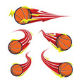 basketball on symbols red thunder speed set vector image
