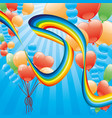 beautiful rainbow and balloons vector image vector image