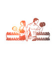 bodybuilders couple working out in gym vector image