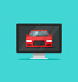 car or auto on computer screen vector image vector image