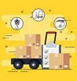 cart delivery service with set icons vector image vector image