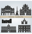 Catania landmarks and monuments vector image vector image