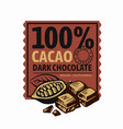 chocolate and cocoa pieces emblem with text vector image vector image