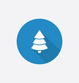 Christmas tree Flat Blue Simple Icon with long vector image vector image