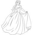 coloring beautiful princess vector image vector image