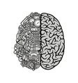 Combined human brain with computing engine icon vector image