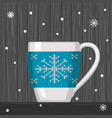cozy knitting blue with pattern snowflake for cup vector image