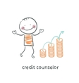 credit counselor next to the graph from coins vector image vector image