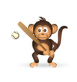 cute chimpanzee holding baseball bat sport little vector image vector image