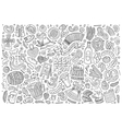 doodle cartoon set of Oktoberfest objects vector image vector image