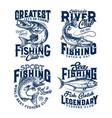 fishing club t-shirt prints sea fish on rod hook vector image vector image
