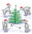 goats in winter vector image vector image