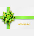 green bow and ribbons with vector image vector image