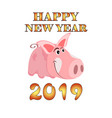 greeting card with the image of a cartoon pink pig vector image vector image