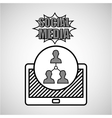 hand drawing team social media mobile vector image vector image