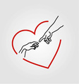 Hands showing the creation of Adam in a red heart vector image vector image