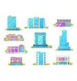 hotel and night club buildings isolated icons vector image vector image