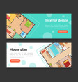 house plan interior design landing page templates vector image