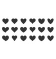 love heart shapes black flat silhouette icon set vector image vector image