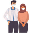 male character and arabian woman wear medical vector image vector image