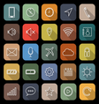 Mobile phone line flat icons with long shadow vector image vector image