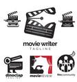 movie theme logo icon set vector image