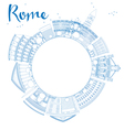 Outline Rome skyline with blue landmarks vector image vector image