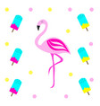 pink flamingo with ice cream vector image