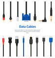 realistic detailed 3d network data cable vector image