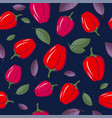 seamless pattern bright red peppers vector image vector image
