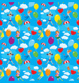 seamless pattern with clouds colorful balloons vector image vector image