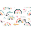 seamless pattern with hand drawn rainbows vector image vector image
