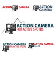 set action camera logo camera for active sports vector image