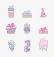 set happy birthday decoration to celebrate vector image
