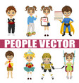 set of diverse kids vector image vector image